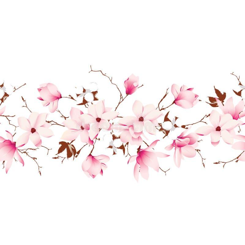 Garland seamless horizontal vector banner. Magnolia and cotton garland seamless horizontal vector banner royalty free illustration