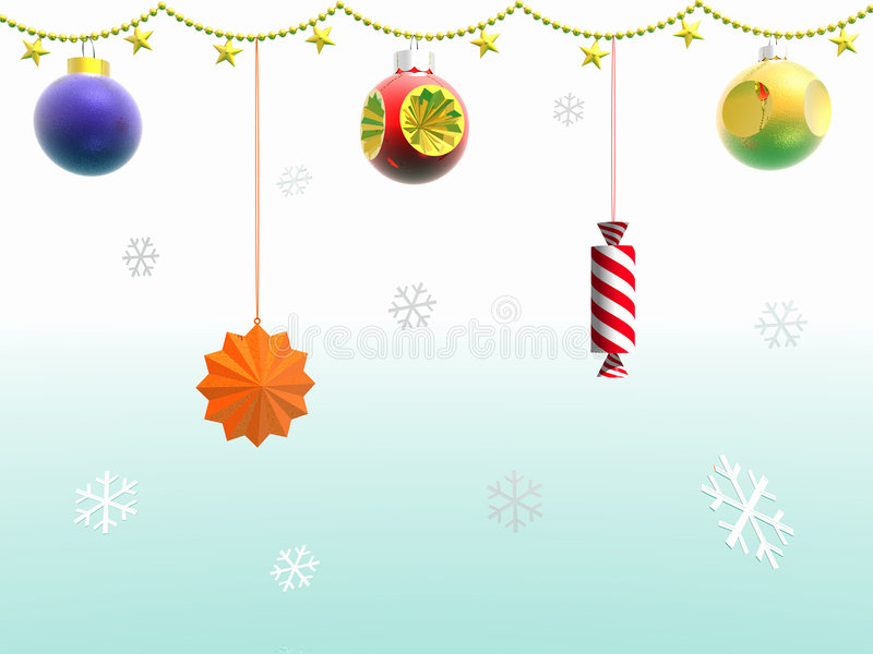 Garland and snowflakes. 3D. vector illustration