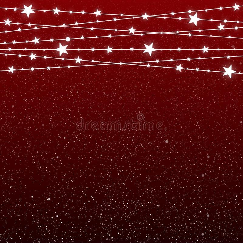 Garland Star Bulbs Stars Natale del nuovo anno illustrazione di stock