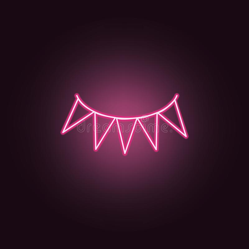 garlands neon icon. Elements of Party set. Simple icon for websites, web design, mobile app, info graphics stock illustration