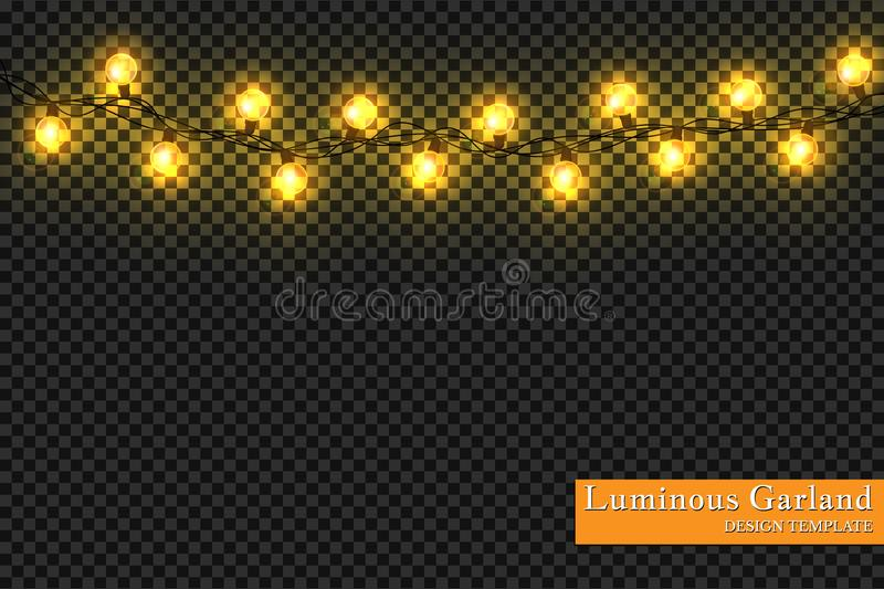 Garlands, realistic glowing garland Christmas decoration lights effects. Christmas decoration. Isolated vector design elements on royalty free illustration