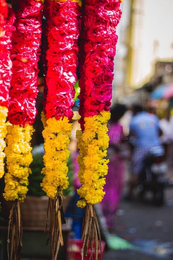 Garlands of red and yellow flowers. Flower stall selling garlands for temple and marriage functions. Selling flowers Garlands on. South indian market stock photos