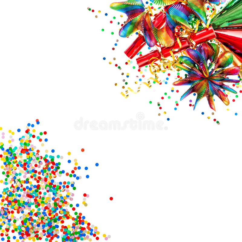 Garlands, streamer, cracker, confetti. Decoration. Garlands, streamer, cracker, party hats and confetti. Decoration royalty free stock photography