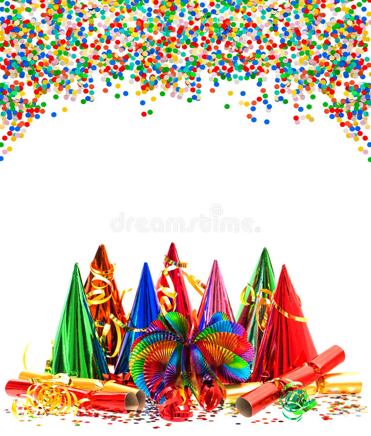 Garlands, streamer, party hats and confetti royalty free stock images