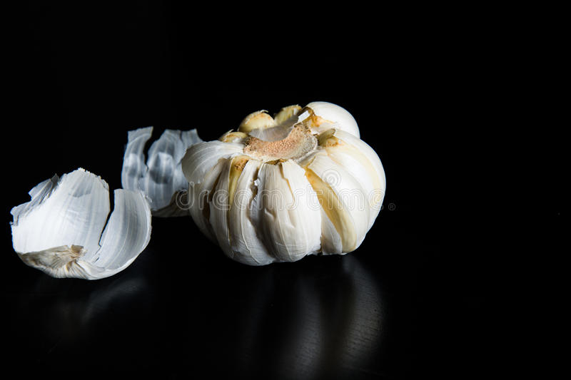 Garlic on a black background stock image