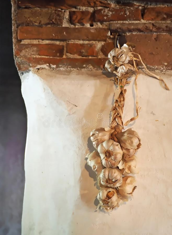 Garlic braid, woven with straw, hanging on the wall of a rural house royalty free stock photography