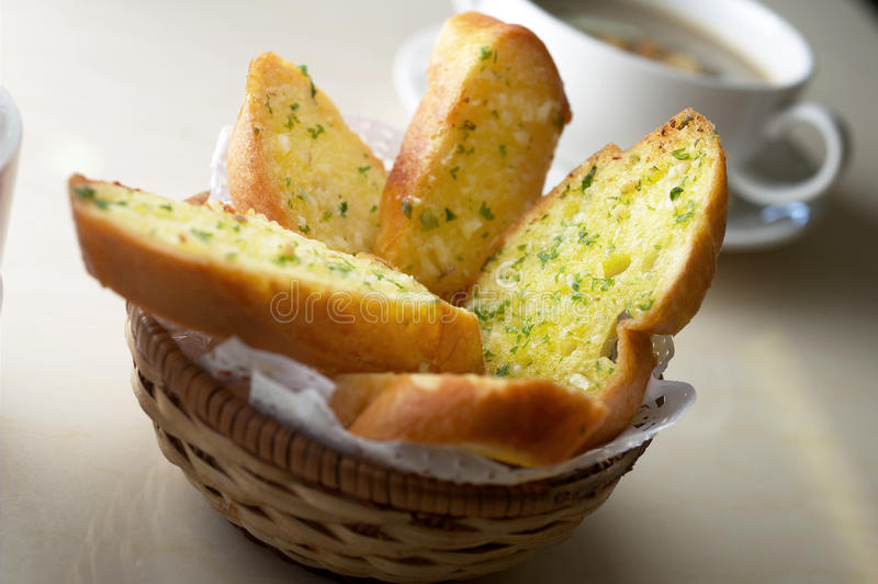 Garlic bread. Toast garlic bread ready to serve stock photography