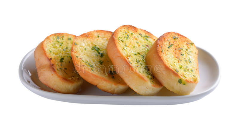 Garlic bread in white plate. On white background stock photo