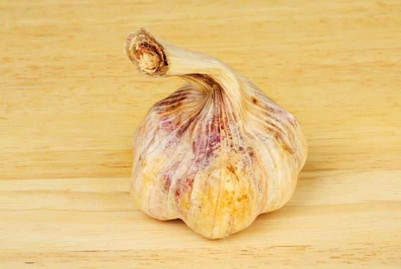 Garlic bulb on a chopping board. Purple garlic bulb on a wooden chopping board royalty free stock image
