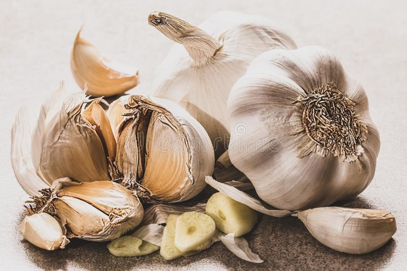 Garlic close up on wooden plate on rustic background, shallow depth of field, selective focus, macro. Organic garlic whole and cloves on the wooden background royalty free stock image