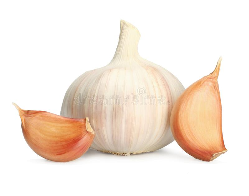 Garlic clove  on white background. Garlic and cloves royalty free stock image
