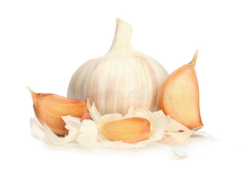 Garlic clove  on white background. Garlic and cloves stock photos