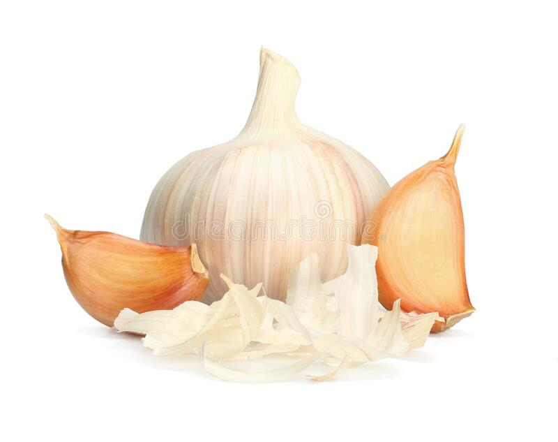 Garlic clove isolated on white background. Garlic and cloves royalty free stock photo