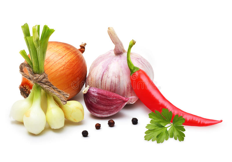 Download Garlic Clove, Onion,red Pepper And Spices Stock Photo - Image of condiment, green: 33204792
