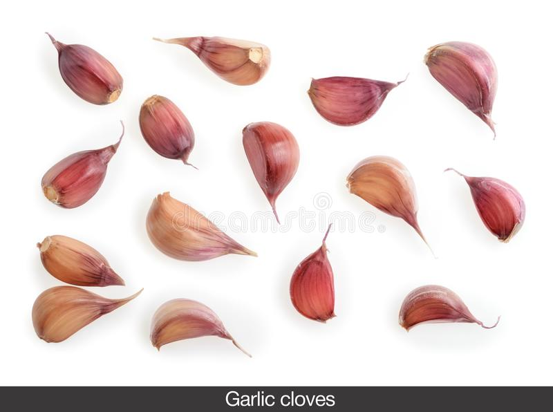 Garlic cloves isolated on white background Top view royalty free stock photo