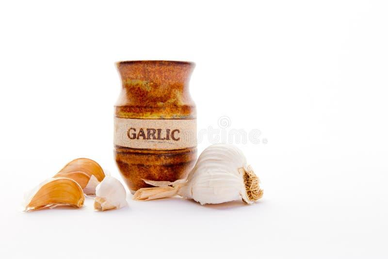 Garlic Cloves with pottery jar stock photos