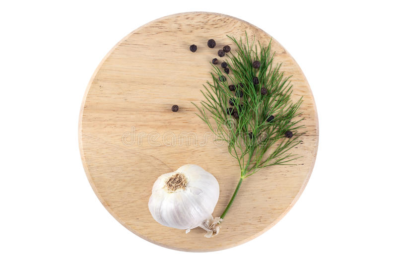Garlic with dill and black pepper stock images