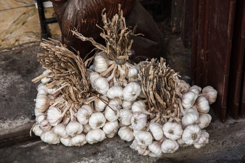 Garlic on display in the market,Vigan , Luzon, philippines stock photo