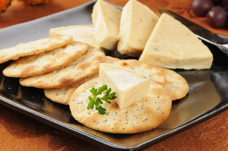 Garlic herb cheese and crackers