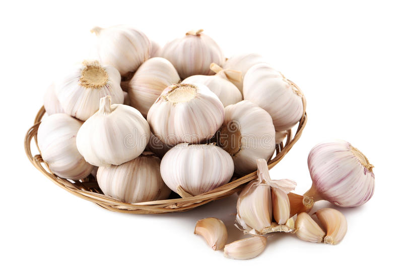 Garlic. Isolated on a white background royalty free stock photography
