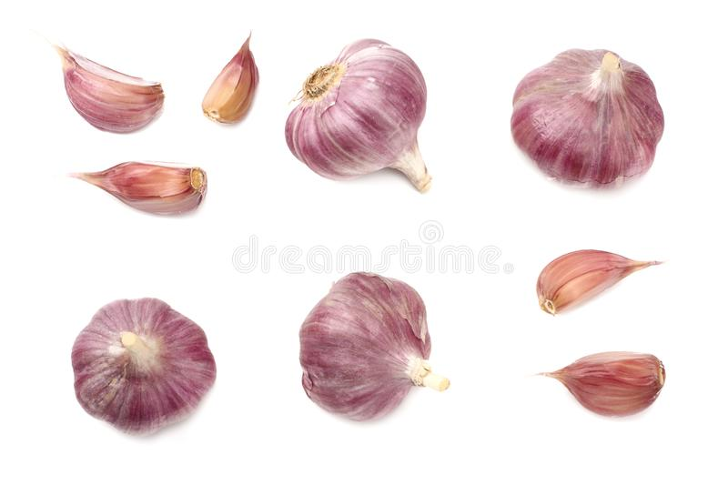 Garlic isolated on white background. healthy food. top view royalty free stock images