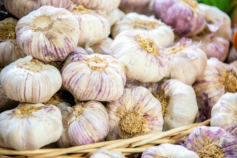 The garlic at the market display stall royalty free stock photo