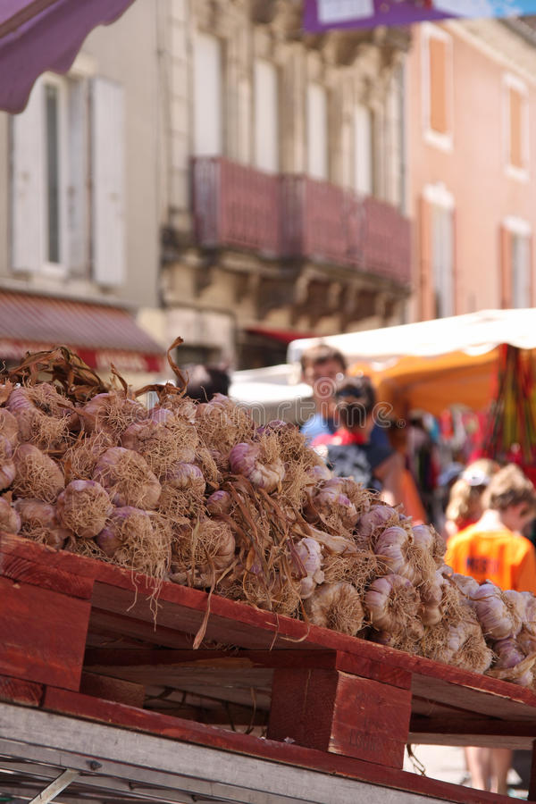 Garlic in a market. Garlic stall in a market town in France stock image