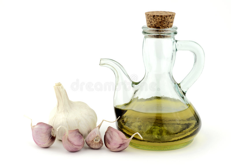 Garlic and oil royalty free stock photo
