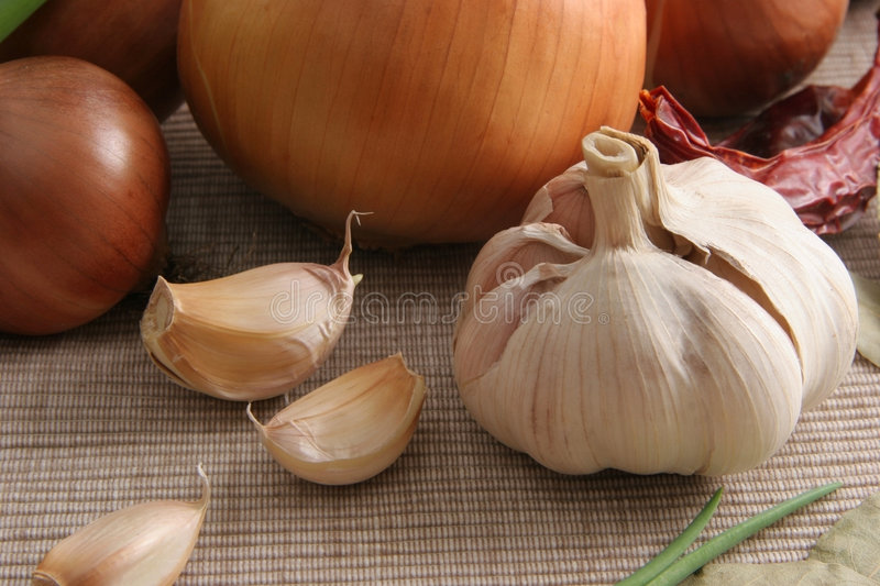 Garlic and onion. royalty free stock images