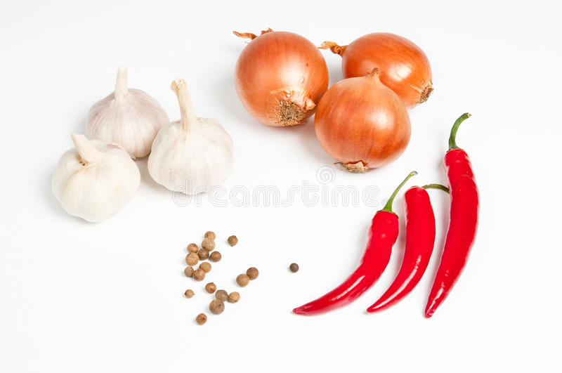 Download Garlic, Onion, Pepper And Spice Royalty Free Stock Photos - Image: 30781238