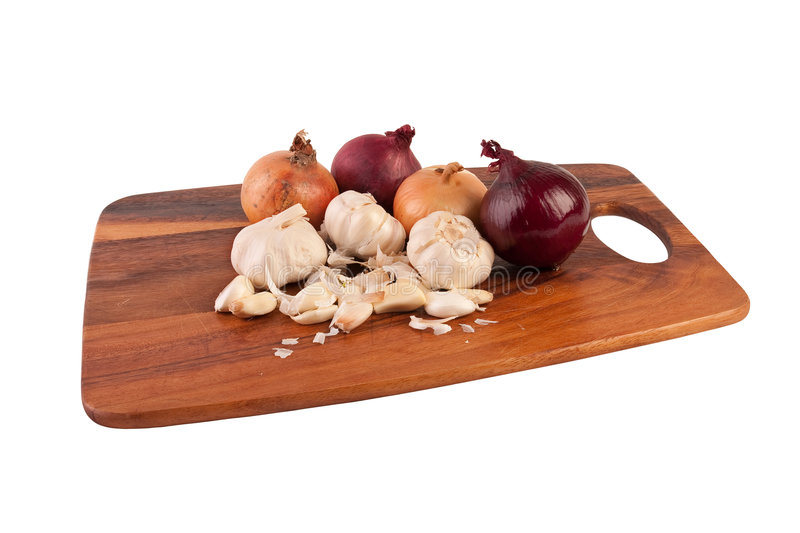 Download Garlic And Onions On Cutting Board Stock Photo - Image: 9005730
