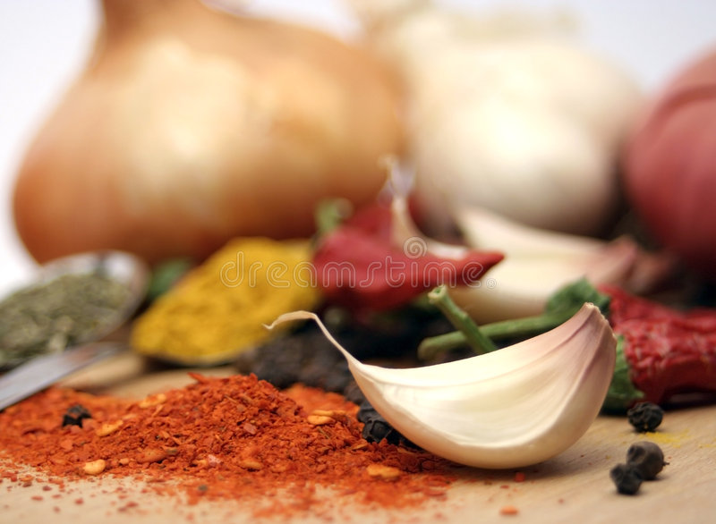 Download Garlic, peppers and spices stock image. Image of nutrient - 3157657