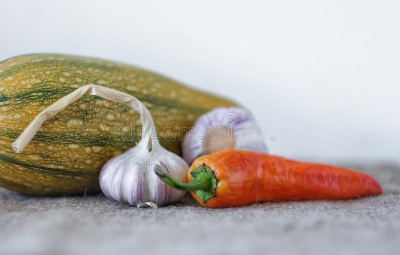 Garlic, red pepper, zucchini. Vegetables on a light background. stock images