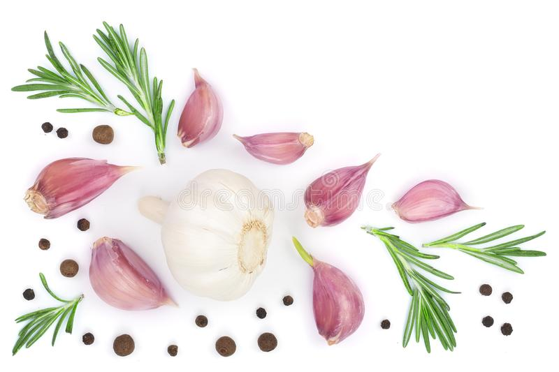 Garlic with rosemary and peppercorn isolated on white background with copy space for your text. Top view. Flat lay. Pattern stock illustration