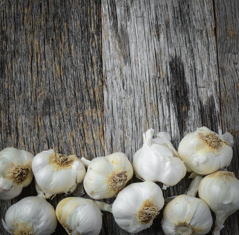 Garlic on Rustic Wood stock image