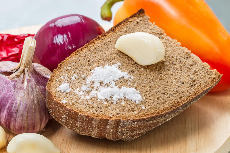 Download Garlic With Rye Bread And Salt Stock Images - Image: 26376024