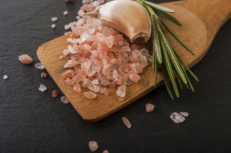 Garlic salt and rosemary close up stock photography