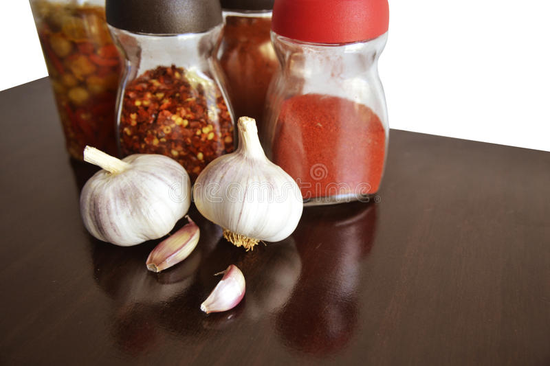 Garlic, spices and condiments for food top royalty free stock images