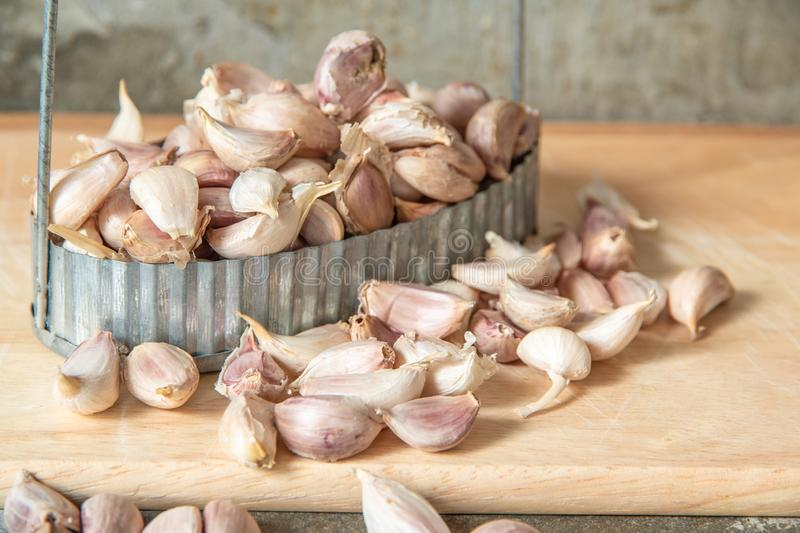 Garlic in tin tray on wooden butcher background.  royalty free stock photography