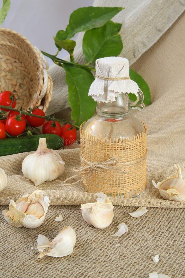 Garlic vinegar royalty free stock image