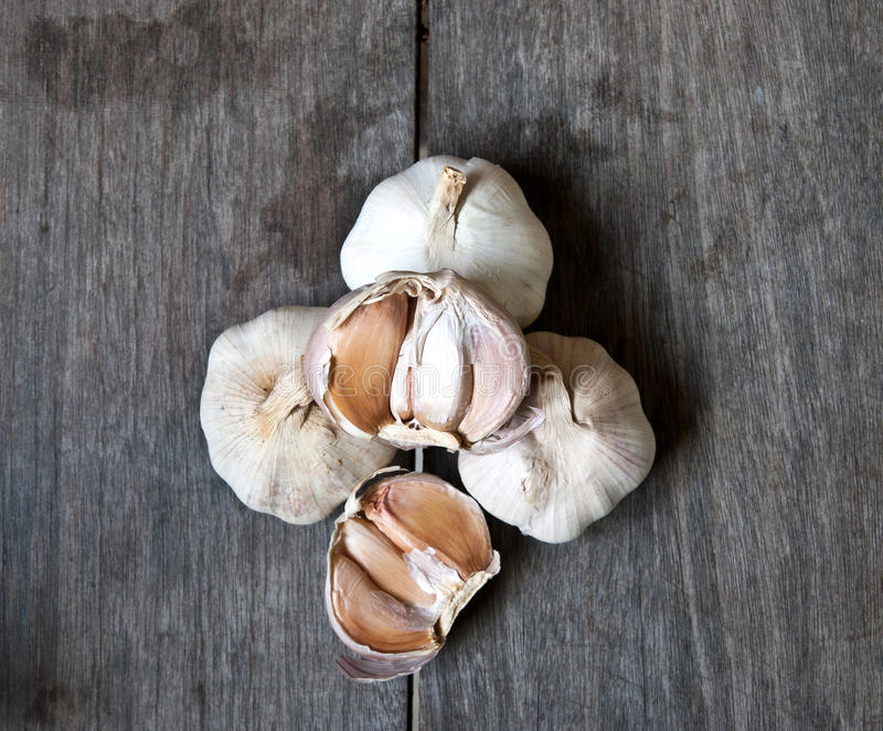Garlic on wood. Garlic on a wood background royalty free stock images