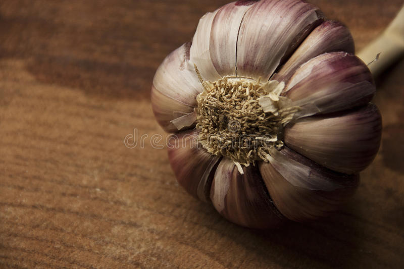 Garlic. On wooden board. Zoom In. Detailed view. Woodgrain stock photos