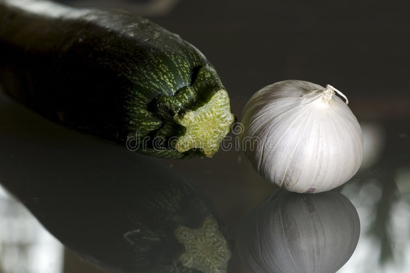 Garlic and zucchini royalty free stock images