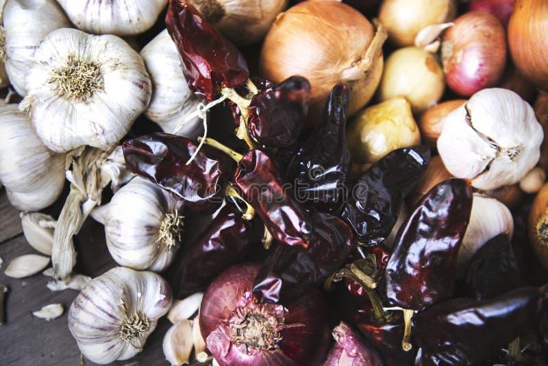 Garlics cebul wysuszeni chillies na nieociosanym drewnie obrazy royalty free
