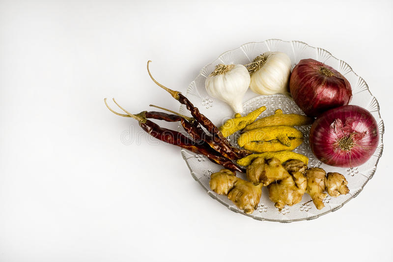 Garlics, Red chillies, Ginger, Onion and Turmeric stock image