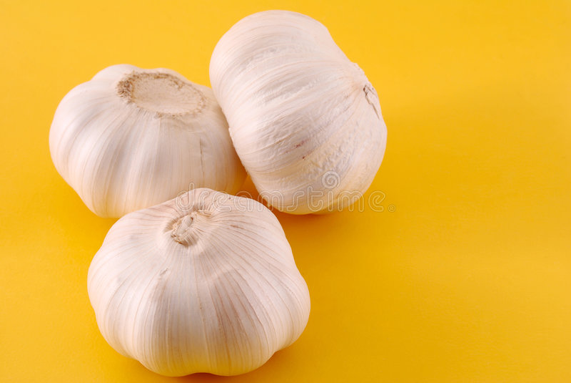 Garlics três no amarelo imagem de stock royalty free
