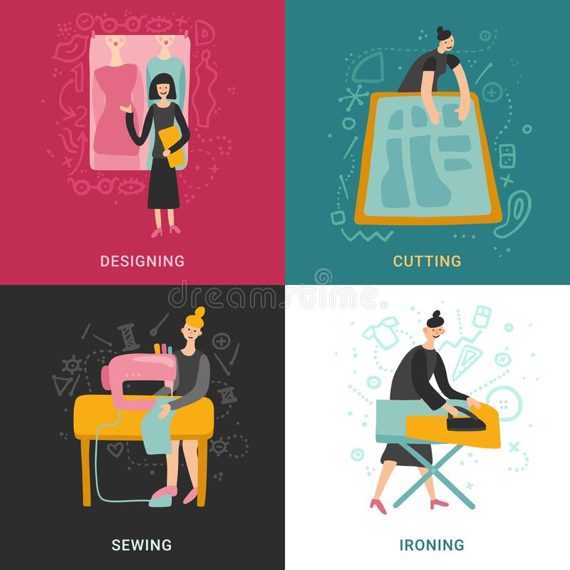 Garment Factory 2x2 Design Concept vector illustration