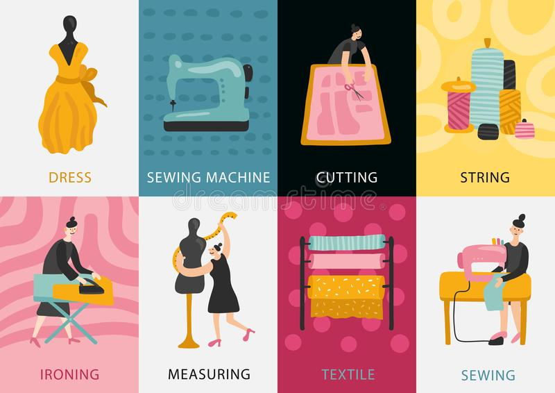 Garment Factory Flat Cards stock illustration