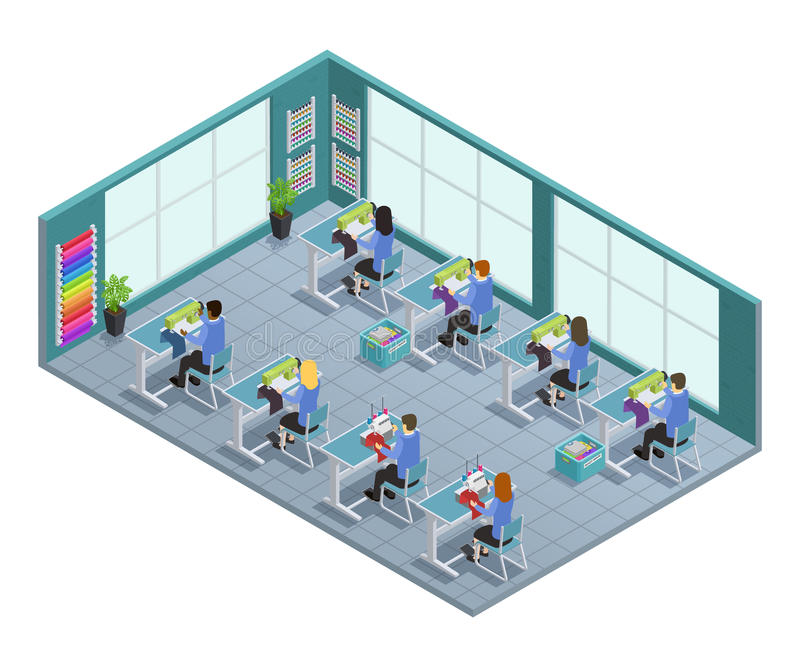 Garment Factory Isometric Composition. 3d garment factory isometric composition with workshop on tailoring in the factory vector illustration vector illustration
