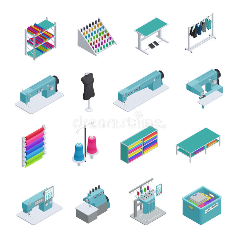 Garment Factory Isometric Icon Set. Colored and isolated garment factory isometric icon set machines sewing machines garment manufacturing vector illustration royalty free illustration